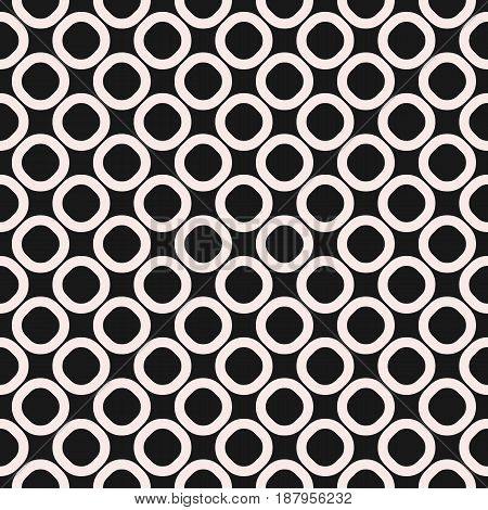 Vector seamless pattern black & white geometric background staggered rings & circles. Simple abstract shapes, dark monochrome texture repeat tiles. Design for prints, furniture, fabric, package