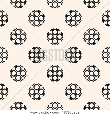 Monochrome ornamental seamless pattern. Vector abstract geometric texture, rounded lattice outline, circular shapes. Repeat mosaic background. Design element for prints, decor, textile, web, digital