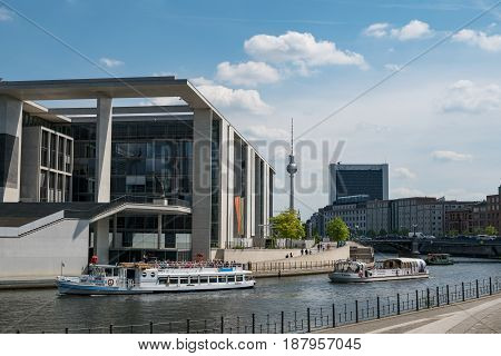 Tourist Boats On River Spree At Government District With Tv Tower