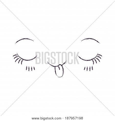 monochrome blurred silhouette of facial expression kawaii flirt vector illustration