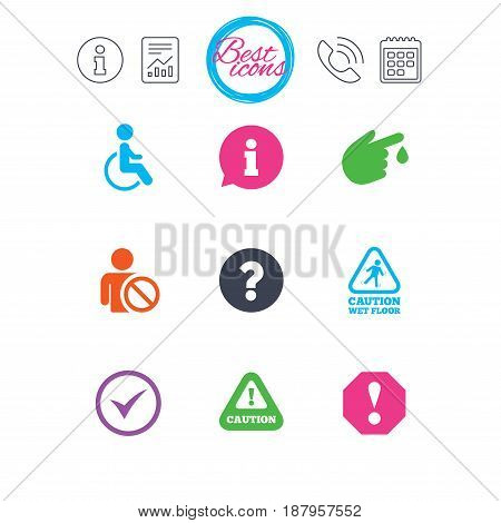 Information, report and calendar signs. Attention notification icons. Question mark and information signs. Injury and disabled person symbols. Classic simple flat web icons. Vector