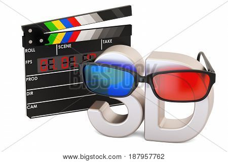 3D cinema concept with 3D glasses and digital movie clapper board 3D rendering