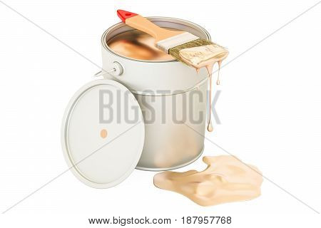 Can with golden paint and brush 3D rendering