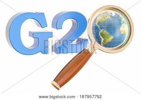 G20 concept with Earth globe and magnifier 3D rendering isolated on white background