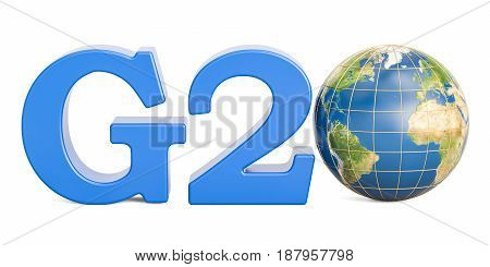 G20 concept with Earth globe 3D rendering isolated on white background