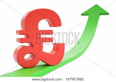 Growth green arrow with symbol of pound sterling 3D rendering