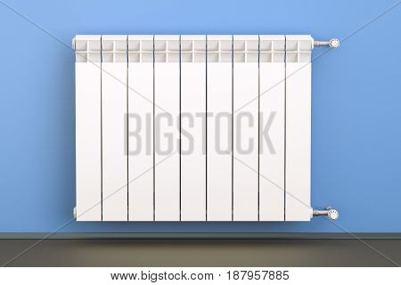 heating radiator with radiator thermostatic valve on the wall 3D rendering