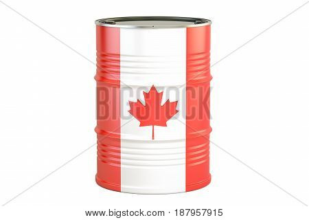 Oil barrel with flag of Canada. Oil production and trade concept 3D rendering