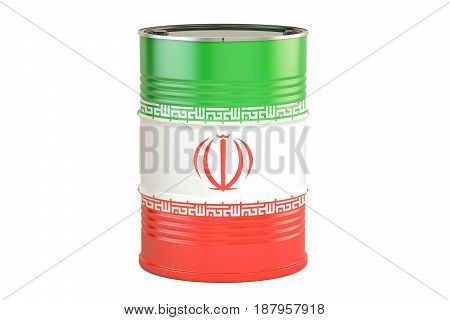 Oil barrel with flag of Iran. Oil production and trade concept 3D rendering