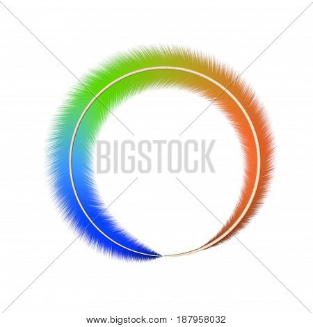 Ring of colorful feather. Isolated on white background. 3D rendering illustration.