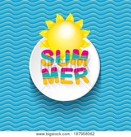 vector summer sale bright label design template . Summer sale banner or badge with beautiful sun and calligraphic text on blue fresh wave background