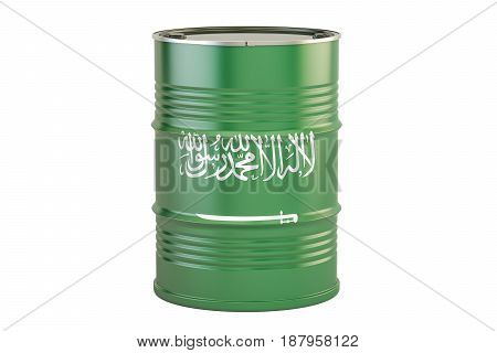Oil barrel with flag of Saudi Arabia. Oil production and trade concept 3D rendering
