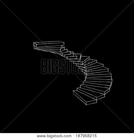 Spiral staircase. Isolated on black background. Sketch illustration.