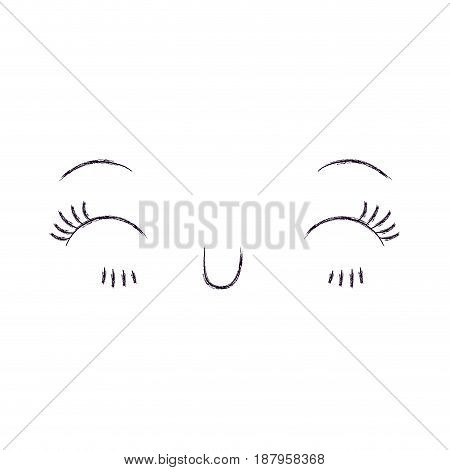 monochrome blurred silhouette of facial expression happiness kawaii vector illustration