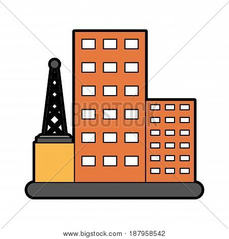 antenna and building telecommunications related icon image vector illustration design