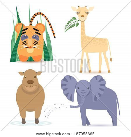 Cute Africas Animals Kids such as Giraffe, Elephant, Hippo and little Lion. Vector EPS10