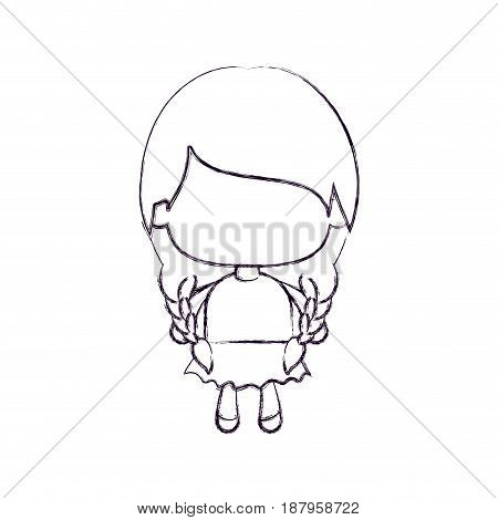 monochrome blurred silhouette of faceless little girl with pigtails hair and braided vector illustration