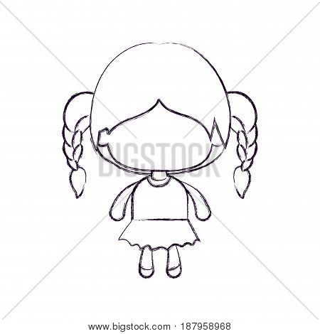 monochrome blurred silhouette of faceless little girl with braided hair vector illustration