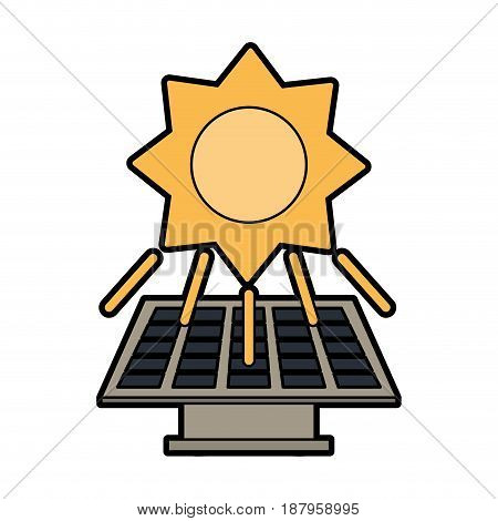solar panel and sun clean energy related icon image vector illustration design