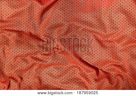 Sport Clothing Fabric Texture Background, Top View Of Red Cloth Textile Surface
