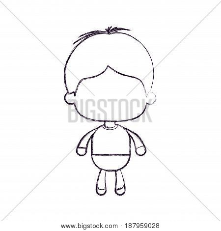 monochrome blurred silhouette of faceless little boy with short hair vector illustration