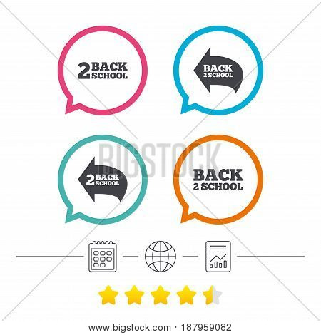 Back to school icons. Studies after the holidays signs symbols. Calendar, internet globe and report linear icons. Star vote ranking. Vector