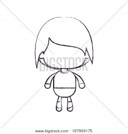 monochrome blurred silhouette of faceless little boy with short wavy hair vector illustration