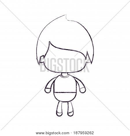 monochrome blurred silhouette of faceless little boy with straight hair vector illustration