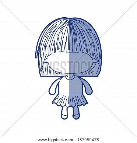 blue shading silhouette of faceless little girl with mushroom haircut vector illustration
