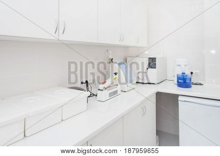 Dental sterilization department interior, Modern laboratory washing, cleaning and sterilizing machines