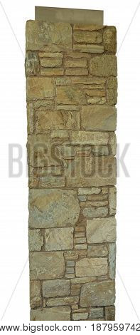 closeup texture of rough weathered beige brick column background