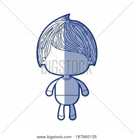 blue shading silhouette of faceless little boy with straight hair vector illustration