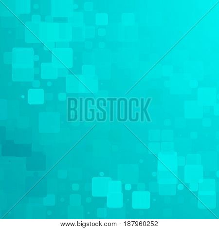 Turquoise green vector abstract glowing background with random sizes rounded tiles square