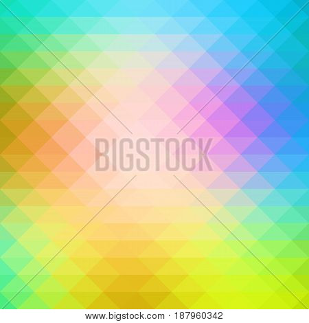 Pink green blue abstract geometric background with rows of triangles square