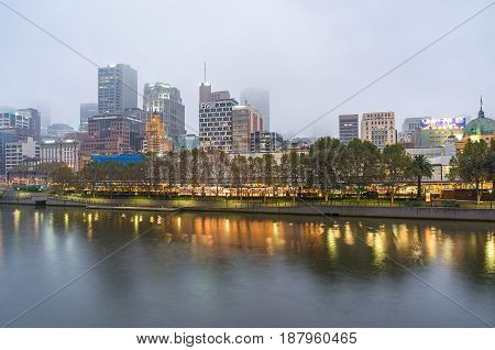 Melbourne Downtown View On Foggy Morning