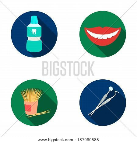 Dental sterile liquid in the jar, lips, teeth, toothpicks in the jar, medical instruments for the dentist. Dental care set collection icons in flat style vector symbol stock illustration .