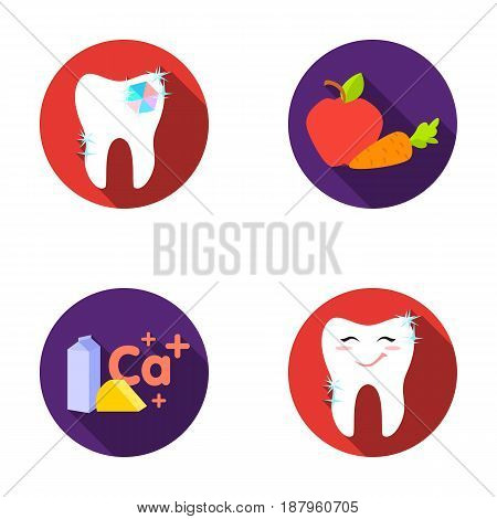 A tooth with brilliant sparkling, an apple with carrots useful for teeth, milk in a box, cheese and a sign of calcium, a smiling tooth. Dental care set collection icons in flat style vector symbol stock illustration .