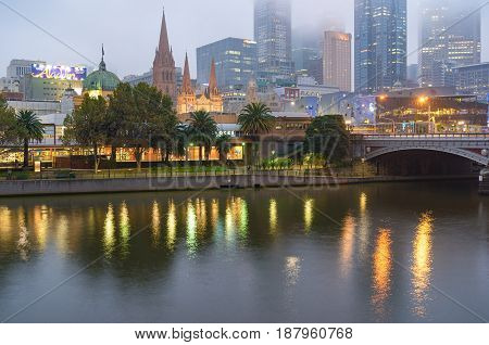 Melbourne Cityscape At Dusk