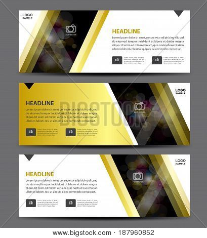 Gold business banner template vector horizontal banner advertising display layout flyer design