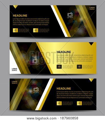 Gold and black Banner Template vector horizontal banneradvertising display layout flyer design