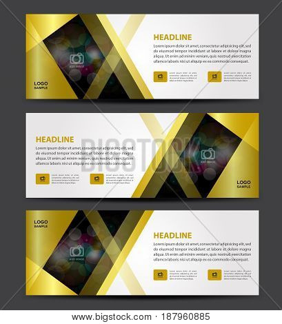 Gold Banner Template vector horizontal banner advertising display layout poster ads