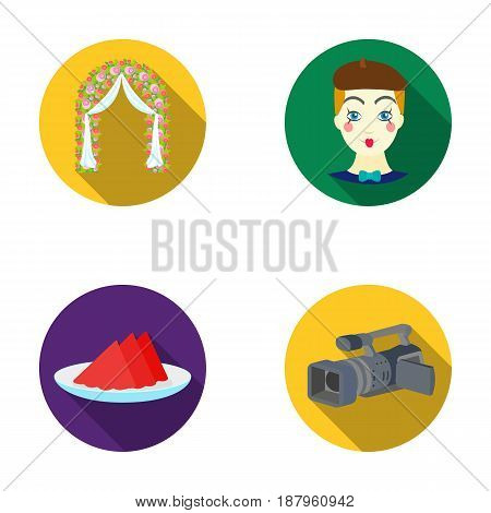 The arch is decorated with roses and silk, a clown in a cap, a plate with red napkins, a video camera. Event services set collection icons in flat style vector symbol stock illustration .