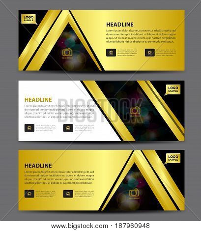 Gold Banner Template vector horizontal banneradvertising display layout flyer design header