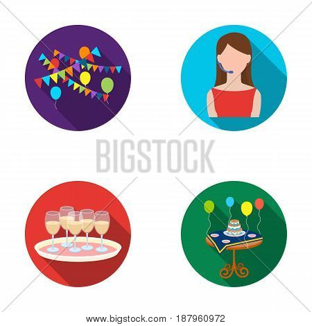 Garland with flags and balls, leading celebration with a microphone, a tray with glasses with champagne, a table covered with a tablecloth with plates, cake and balls. Event services set collection icons in flat style vector symbol stock illustration .