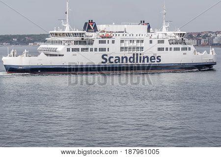 The Ferryboat Aurora between Sweden and Denmark Helsingborg Sweden - May 14 2017
