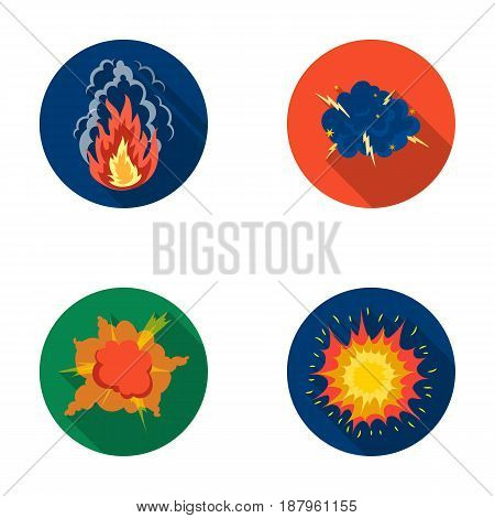 Flame, sparks, hydrogen fragments, atomic or gas explosion, thunderstorm, solar explosion. Explosions set collection icons in flat style vector symbol stock illustration .