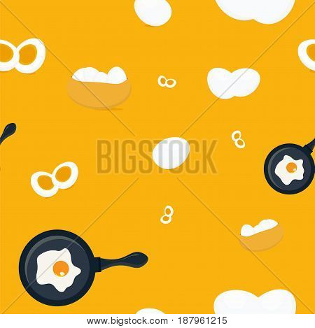 Eggs seamless pattern background is great as wrapping paper template, apron pattern or towels print. Sliced boiled egg, eggs basket and fried egg on a skillet pan. Breakfast Pattern.