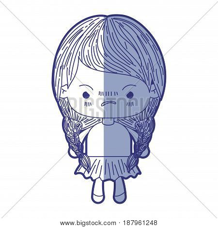 blue shading silhouette of kawaii little girl with braided hair and facial expression angry vector illustration