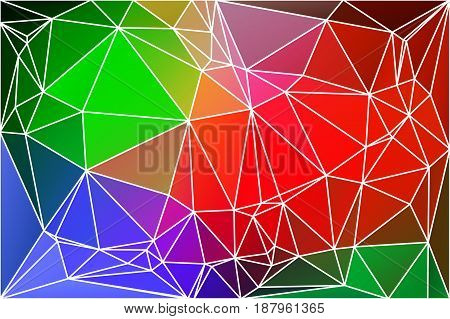Green blue orange red abstract low poly geometric background with white triangle mesh.