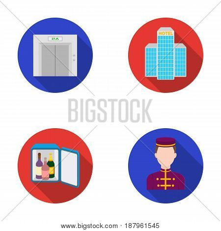 Elevator car, mini bar, staff, building.Hotel set collection icons in flat style vector symbol stock illustration .